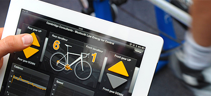 Cambridge Consultants has developed a bicycle that can be controlled with your smartphone mounted on the handlebars.